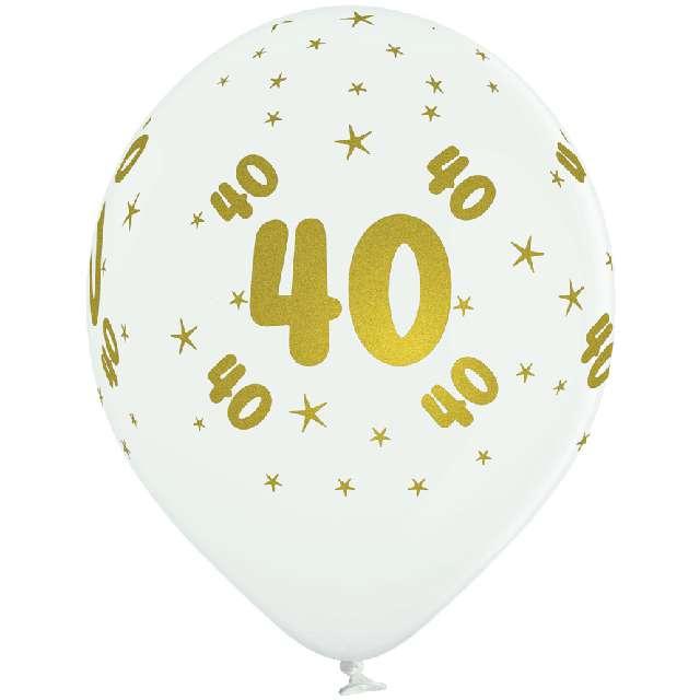 _xx_B-Balloons Balon biały z nadr. 40 złoty (5pcs