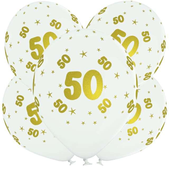 "Balony lateksowe ""Gold 50"", białe, Grabo, 12"", 5 szt"