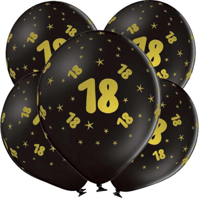 "Balony lateksowe ""Gold 18"", czarne, Grabo, 12"", 5 szt"
