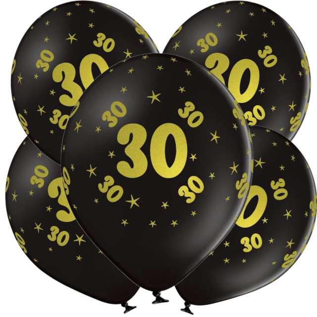 "Balony lateksowe ""Gold 30"", czarne, Grabo, 12"", 5 szt"