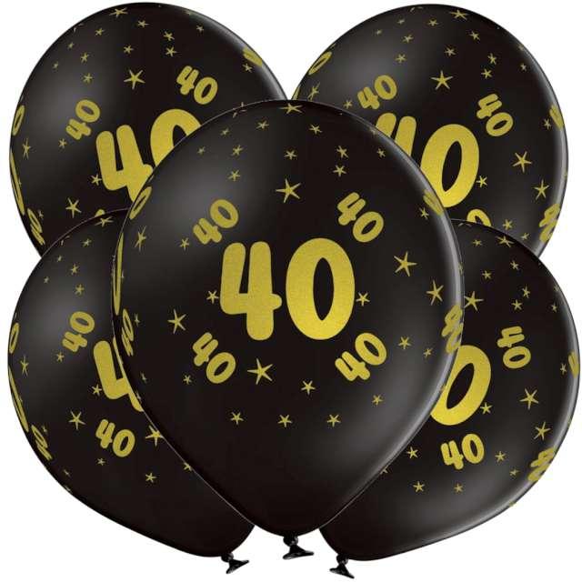 "Balony lateksowe ""Gold 40"", czarne, Grabo, 12"", 5 szt"
