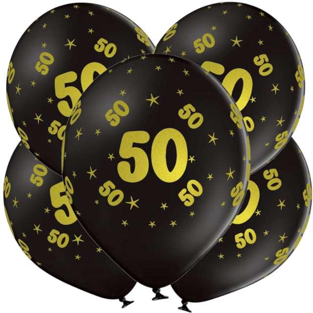 "Balony lateksowe ""Gold 50"", czarne, Grabo, 12"", 5 szt"