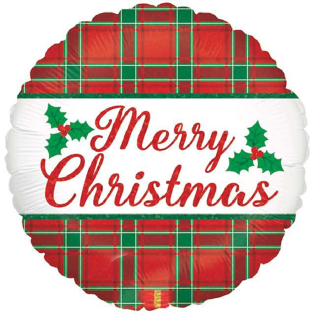 """Balon foliowy """"Merry Christmas - świąteczna kratka"""", , Grabo, 18"""" RND"""