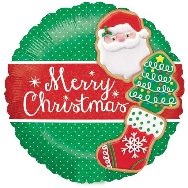 """Balon foliowy """"Merry Christmas"""", zielono-czerwony, Grabo, 18"""" RND"""