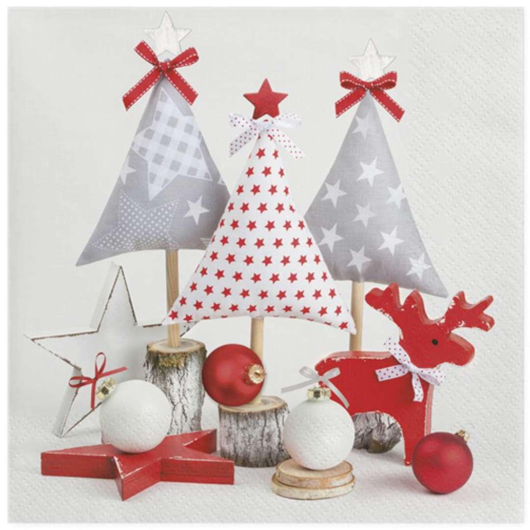 """Serwetki """"Świąteczne choinki wykonane z tkaniny"""", Maki, 33 cm, 20 szt"""