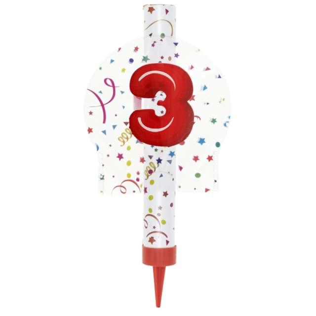 """Fontanna tortowa """"3 Urodziny - kolorowe"""", Partypal, 12 cm"""