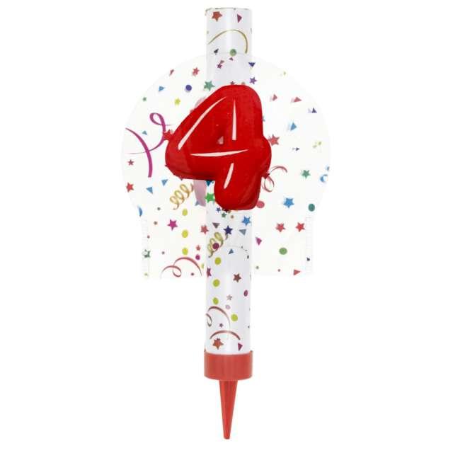 """Fontanna tortowa """"4 Urodziny - kolorowe"""", Partypal, 12 cm"""