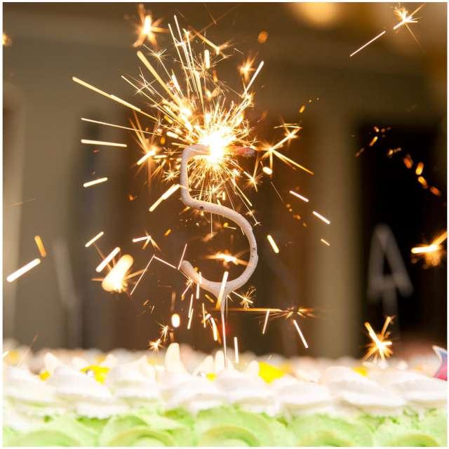 Zimne ognie Cyfra 6 złota PartyPal 16 cm
