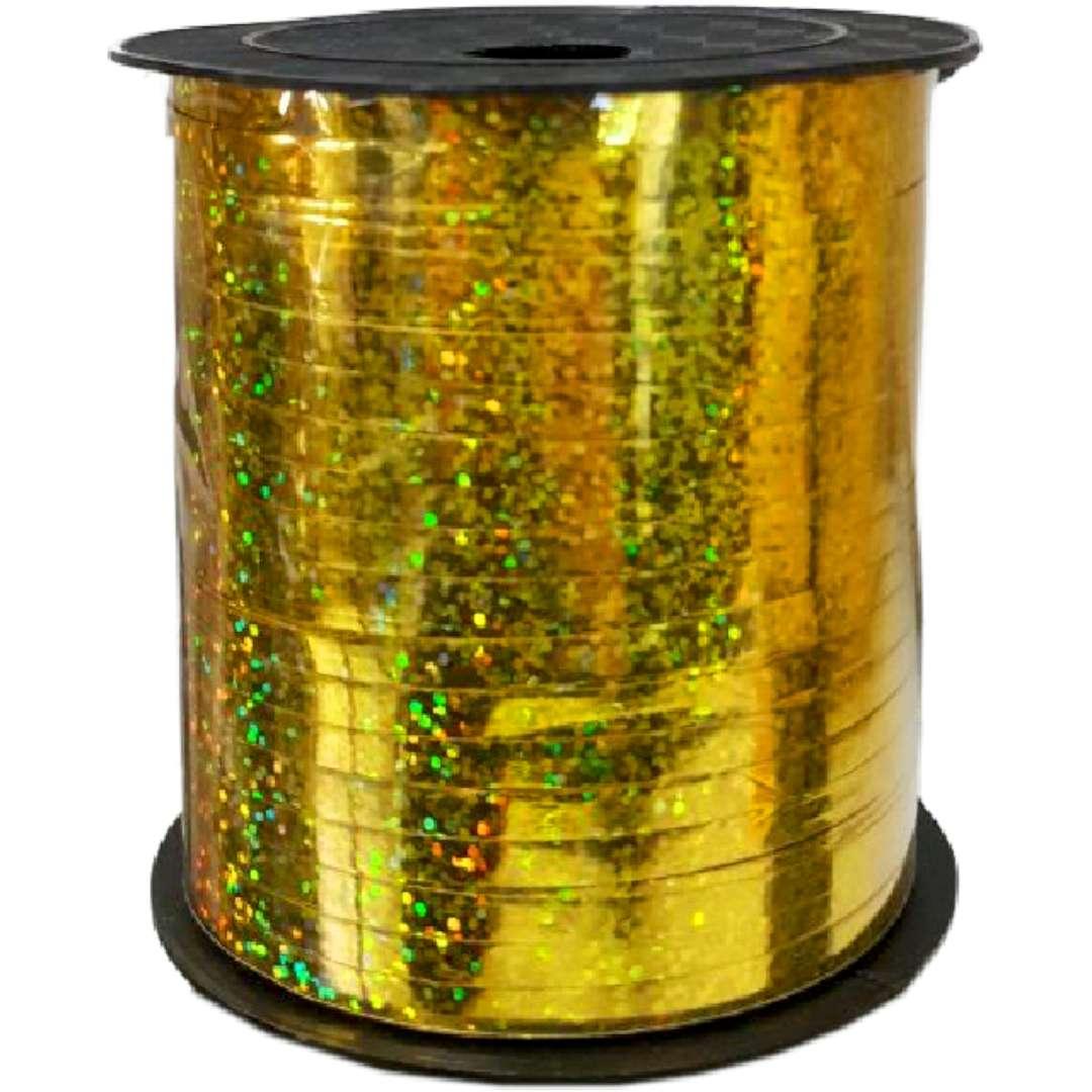 """Wstążka do balonów """"Holograficzna"""", złota, Partypal, 5 mm / 250 m"""