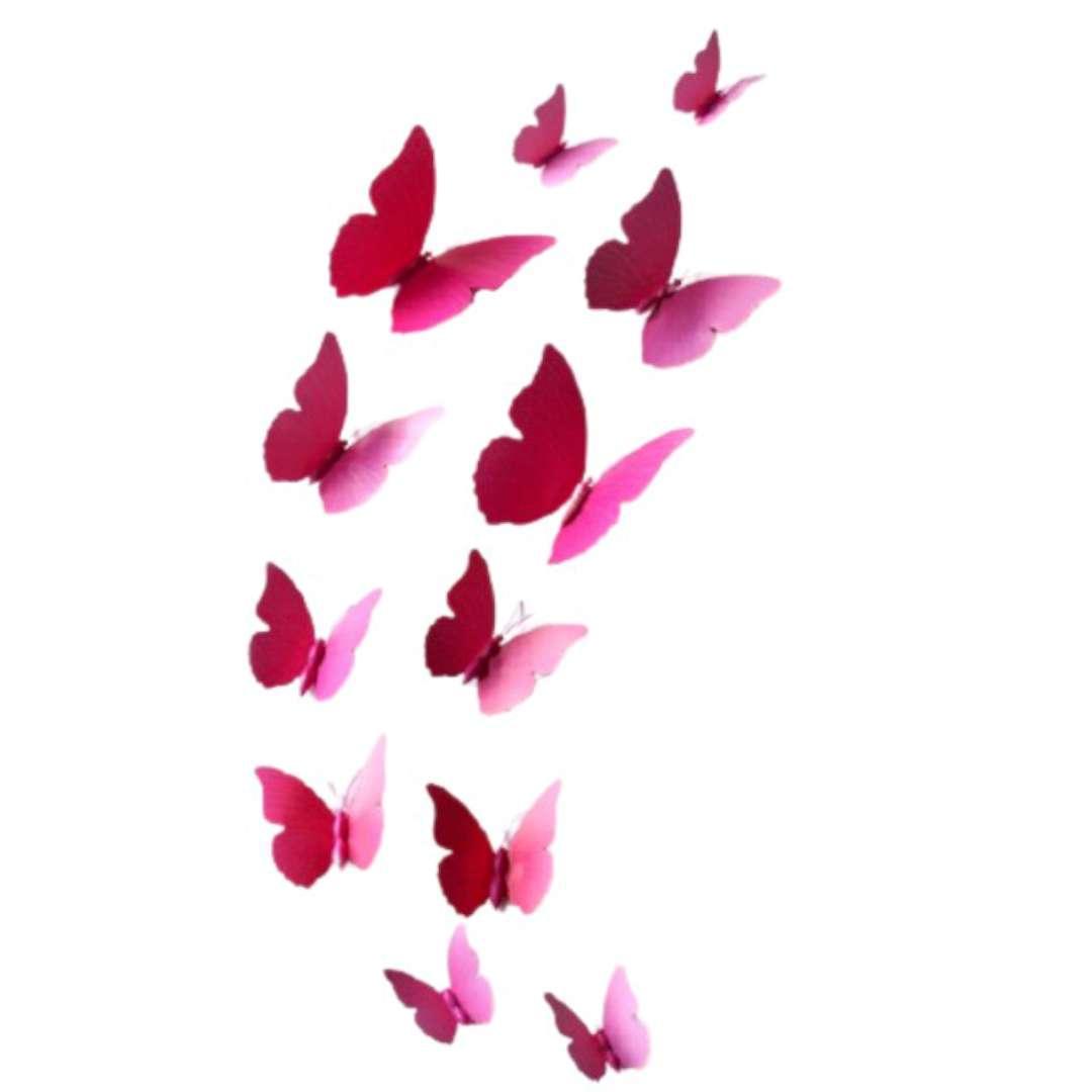 """Dekoracja """"Motyl 3D"""", różowy, Dekoracje Polska, 12 szt"""
