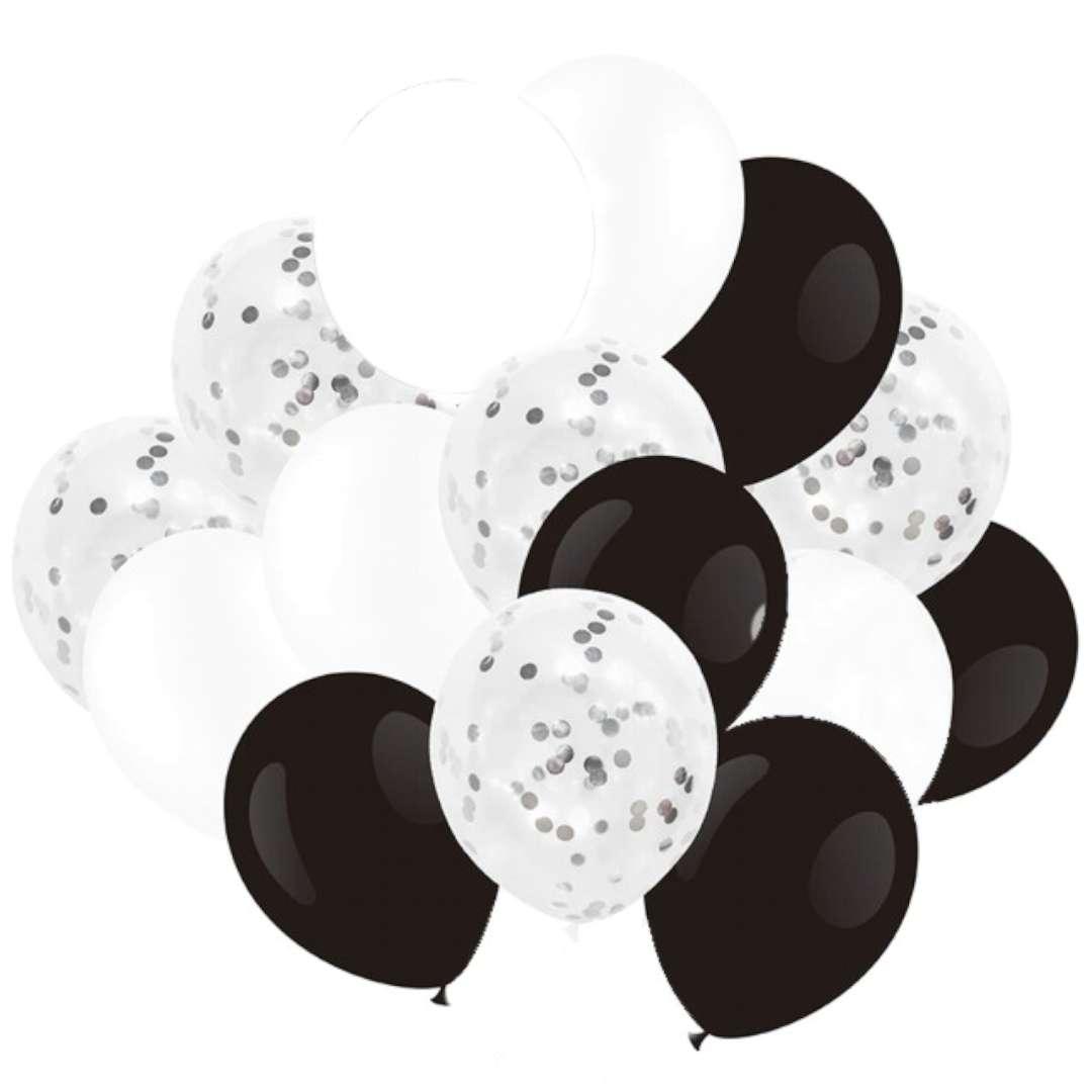 """Balony """"Classic mix"""", czarno-biały, Partypal, 12"""", 15 szt"""