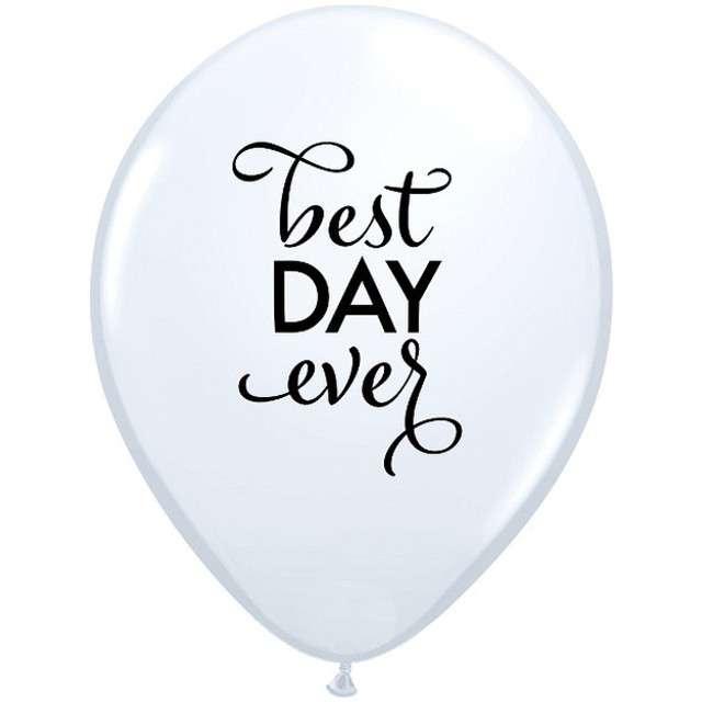 _xx_Balon 11 cali QL z  nadr. Best Day Ever, biały / 25 szt.