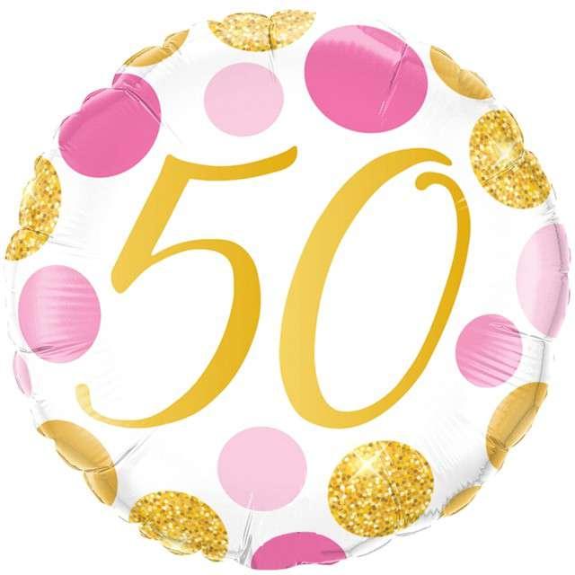 Balon foliowy 50 Urodziny - Grochy złote różowe Qualatex 18 RND
