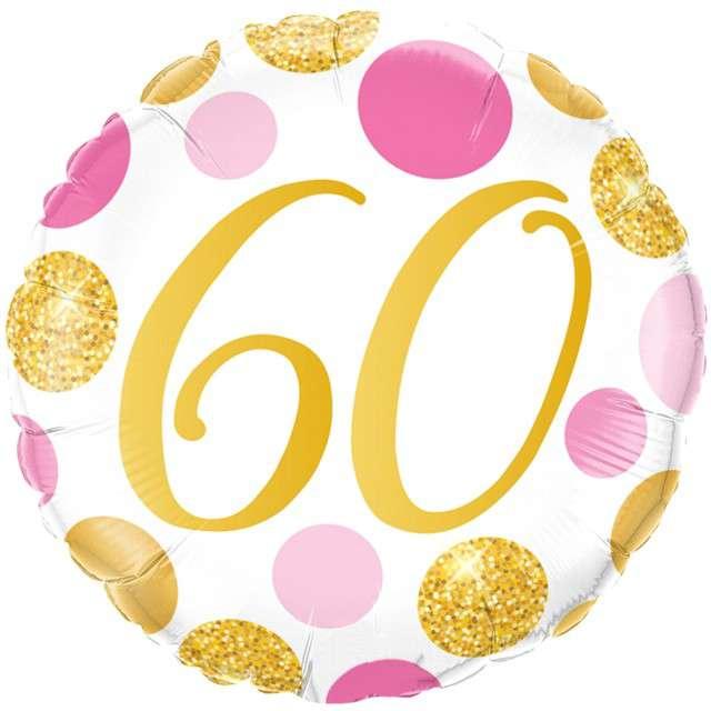 """Balon foliowy """"60 Urodziny - Grochy złote"""", różowe, Qualatex, 18"""", RND"""