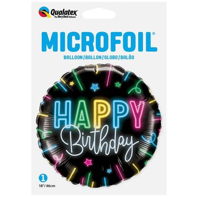 Balon foliowy Happy Birthday Neon czarny Qualatex 18 RND