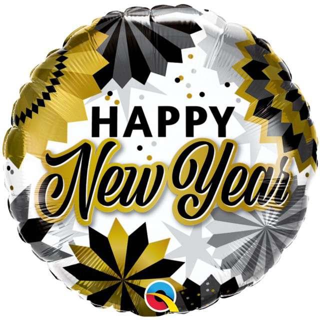 Balon foliowy Happy New Year - Rozety biało-złoty Qualatex 18 RND
