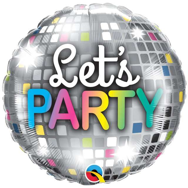 "Balon foliowy ""Lets Party - Kula Dyskotekowa"", Qualatex, 18"", RND"