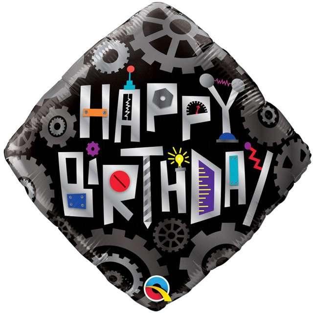 """Balon foliowy """"Happy Birthday - Steampunk"""", czarny, Qualatex, 18"""", DMZ"""