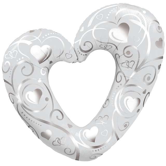 _xx_Balon foliowy 42 QL HRT Hearts & Filigree Pearl White