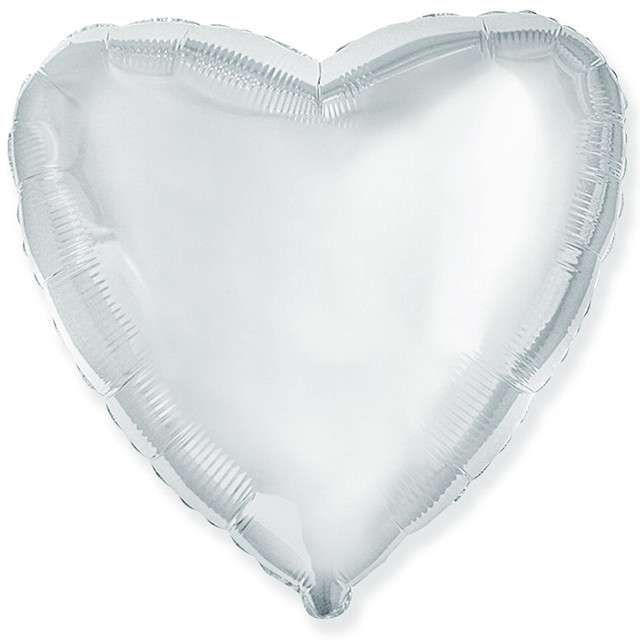 "Balon foliowy ""Serce"", srebrny, Flexmetal, 9"", HRT"