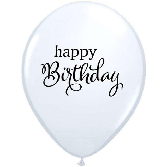 _xx_Balon QL  11 RND   biały z nadr. Happy birthday 25 szt.