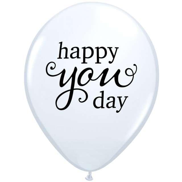 _xx_Balon QL 11 RND biały z nadr. Happy you day 25 szt.