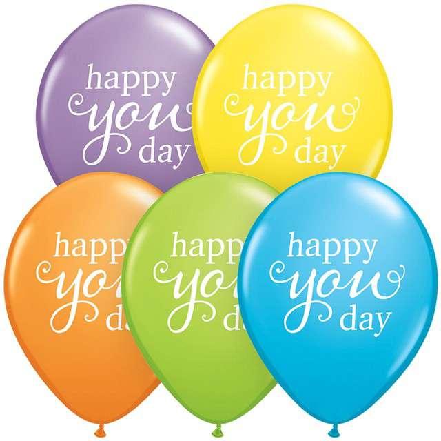 _xx_Balon QL 11 RND pastelowy z nadr. Happy you day 25 szt.