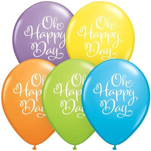 "Balony ""Oh happy day"", mix, Qualatex, 11"", 25 szt."