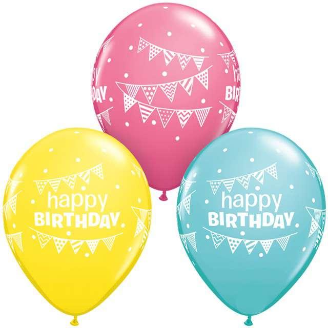 _xx_Balon QL 11 z nadr.  Happy Birthday Pennants & Dots pastel mix specjalny / 25 szt.