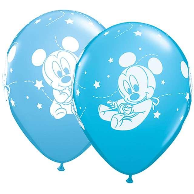 """Balony """"Baby Mickey"""", niebieskie, Qualatex, 11"""", 25 szt."""