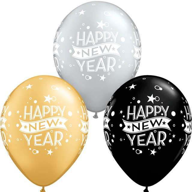 _xx_Balon QL 11 z nadr. Happy New Year grochy i konfetti mix specjalny / 25 szt.