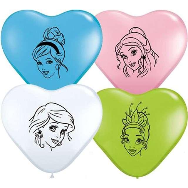 _xx_Balon QL serce 6 Disney Princess Faces pastel mix specjalny / 100 szt.