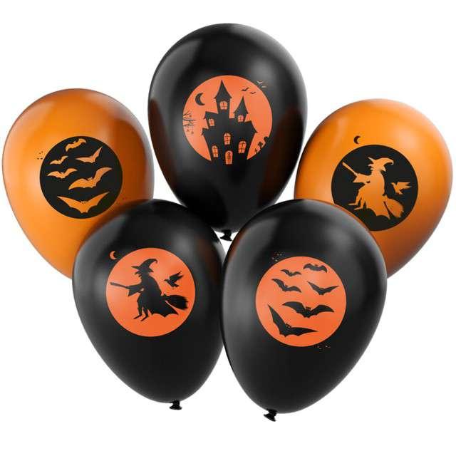 """Balony """"Halloween mix"""", pomarańczowo-czarne, Arpex, 11"""", 5 szt"""