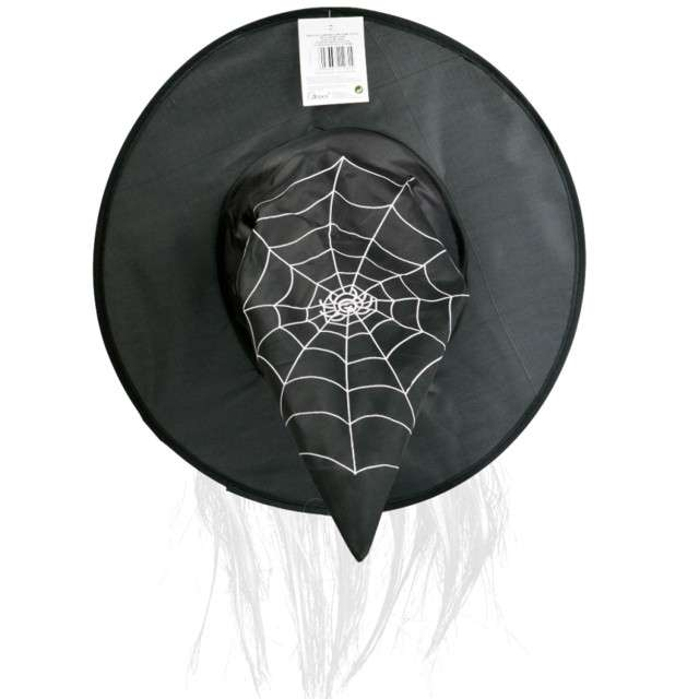 Kapelusz Czarownica z pajęczyną i włosami czarny Arpex