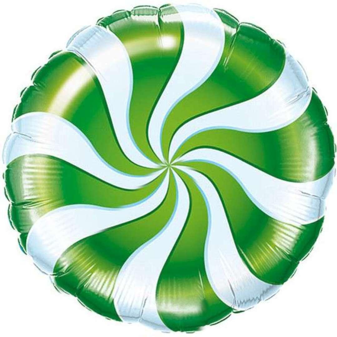 Balon foliowy Lizak biało-zielony Qualatex 18 RND