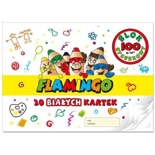 _xx_Blok rysunkowy Flamingo biały A4 20 kartek 10