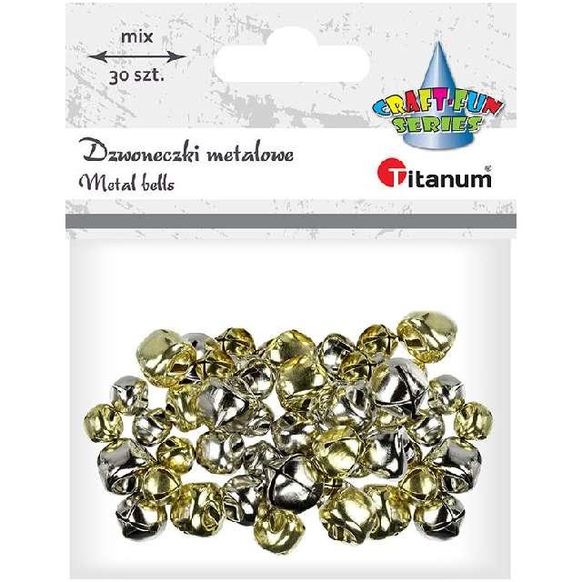 Dzwoneczki dekoracyjne Classic złoto-srebrne Titanum 30 szt