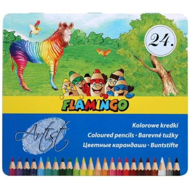 Kredki ołówkowe w Metalowym pudełku mix Flamingo 24 szt