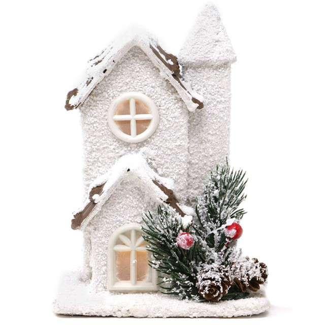 """Dekoracja """"Świąteczny domek LED"""", drewno, Guirca, 17 cm"""