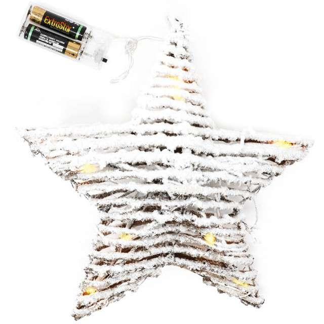Dekoracja święcąca Wiklinowa gwiazda biała Guirca