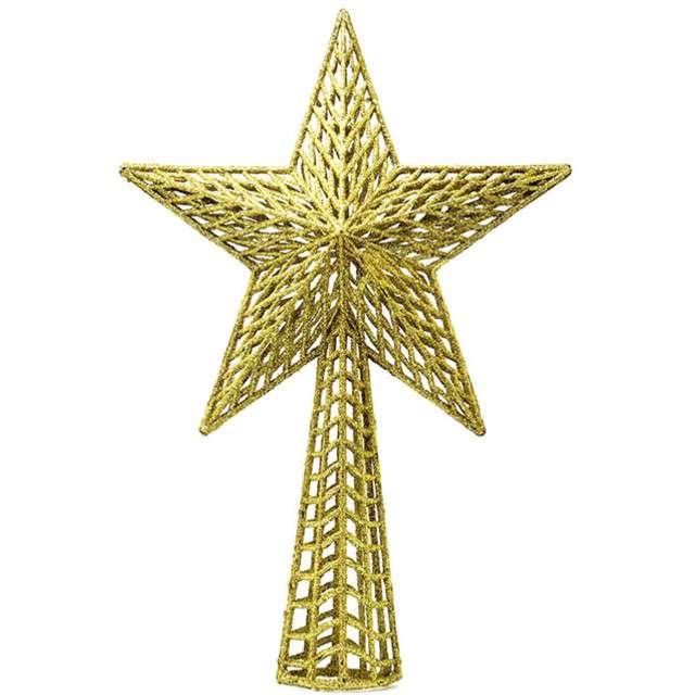 """Czubek choinkowy """"Gwiazda"""", złota, Guirca, 27 cm"""