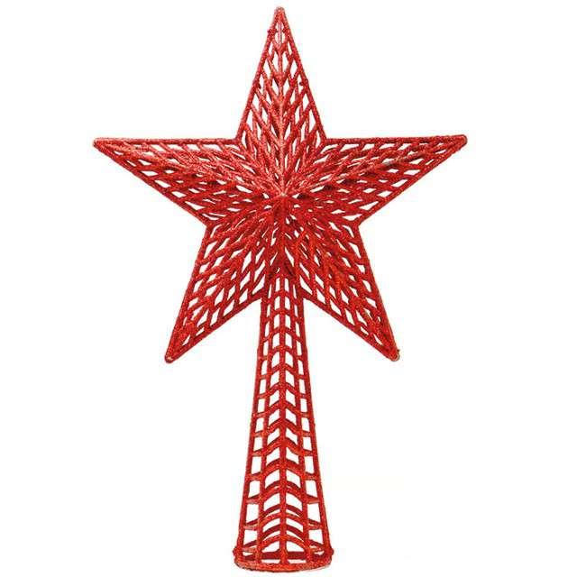 Czubek choinkowy Gwiazda czerwona Guirca 37 cm