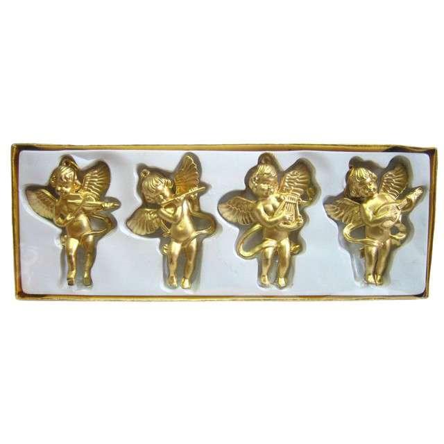 Zestaw ozdób choinkowych Złote aniołki Arpex 4 szt