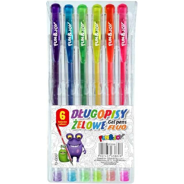 Długopisy Żelowe Fluorescencyjne mix Fun&Joy 08 mm 6 szt