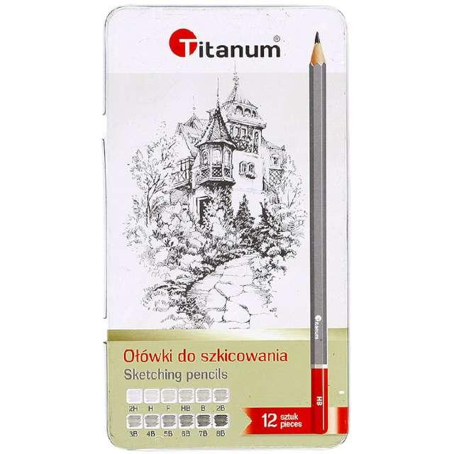 """Ołówki """"Do szkicowania - Metalowe pudełko"""", Titanum, 8B - 2H, 12 szt"""