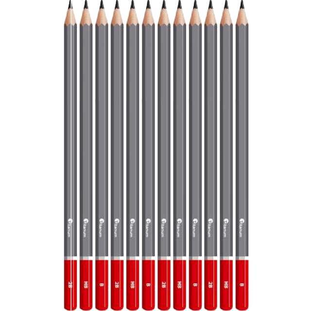 Ołówki Do szkicowania - Metalowe pudełko Titanum 8B - 2H 12 szt