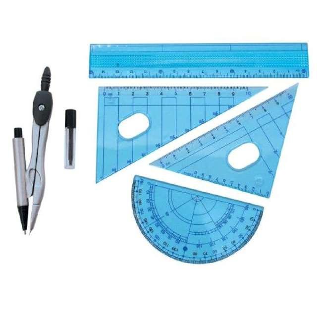 """Przybory geometryczne """"Classic 6 elementów z cyrklem i ołówkiem"""", niebieski, Titanum"""