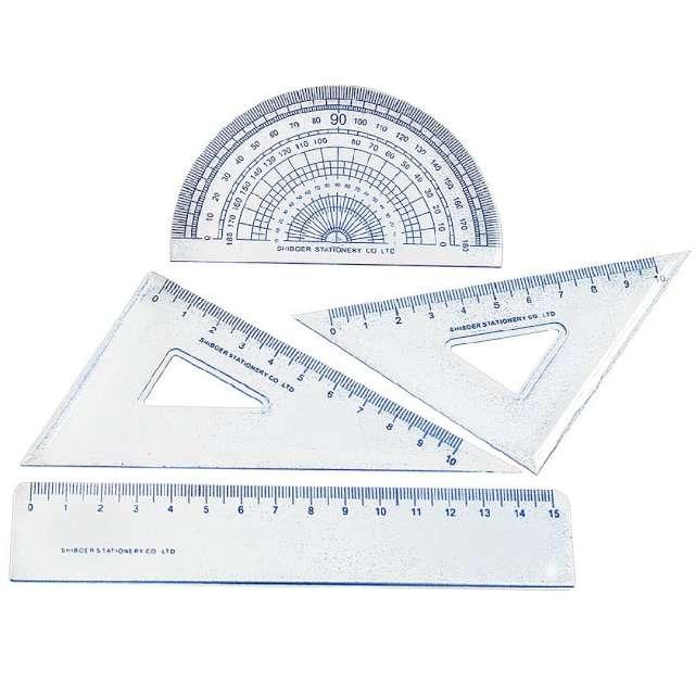 """Przybory geometryczne """"Classic 4 elementy z linijką 15 cm"""", transparent z granatem, Titanum"""