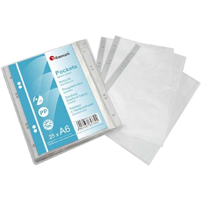 Koszulki na dokumenty A6 - Krystaliczne Titanum 25 szt