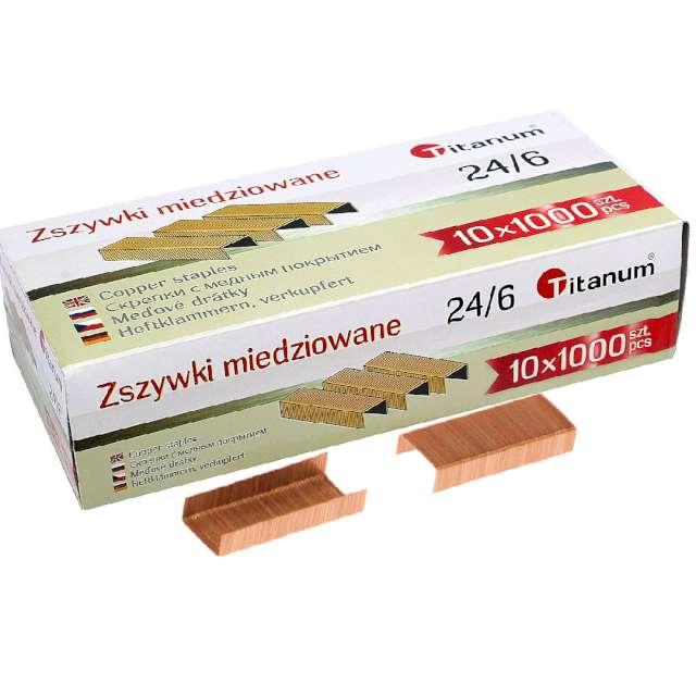 Zszywki biurowe classic 24/6 miedziane Titanum 1000 szt